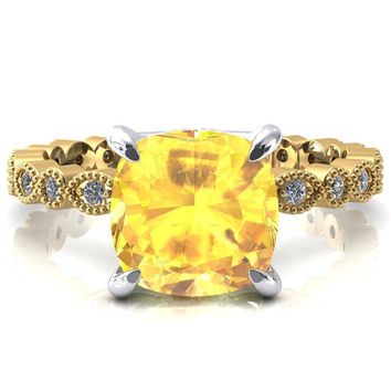Lizette Cushion Yellow Sapphire 4 Claw Prong 3/4 Eternity Milgrain Diamond Shank Engagement Ring
