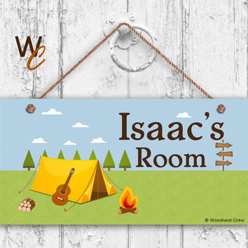 "Camping Sign, Great Outdoors Boy Sign, Campfire, Personalized Sign,Kid's Name, Kids Door Sign, Nursery Art, 5"" x 10"" Sign, Made To Order"