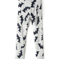Monochrome Bat And Letter Print Leggings