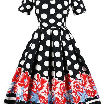 Atomic Floral Polka Dot Pleated Swing Dress