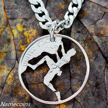 Rock Climber, climbing jewelry, Hand Cut Coin