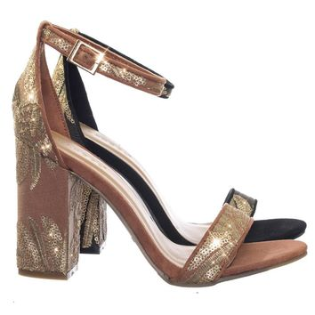 Influencer17 M6Brocade Metallic Floral Embroidery Block High Heel Sandal