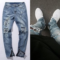 KANYE WEST Fear of god Knee Hole Side Zipper Slim Distressed Jeans  Men justin bieber Ripped tore up Jeans For Men amy066