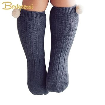 New Cotton Baby Socks with Pompom Knit Knee High Newborn Socks for Girls Boys 1 Pair