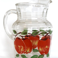 Vintage Painted Apples Glass Pitcher