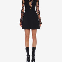‎‎‎‎Women‎'s ‎Black ‎ ‎Sarabande Lace Mini Dress ‎ | Alexander McQueen