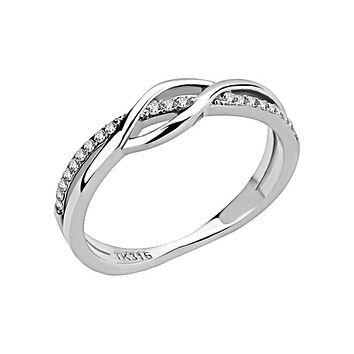 Together Is Everything - Women's Stainless Steel CZ Overlapping Criss Cross Ring