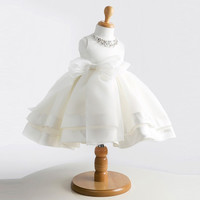 high-grade lace white flower girls dresses bow princess evening tutu dress for 1 year birthday baby tulle girl baptism dress