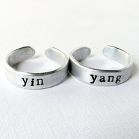 Yin Yang couples best friends or stacking hand stamped metal ring duo set.