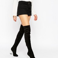 Public Desire Parker Clear Heel Over The Knee Boots