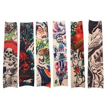 ac DCCKO2Q 6pcs/Set Funny Pattern Tattoo Sleeve Anti-Sun Temporary Tattoo Sleeves Sticker Men Tattoo Accessories