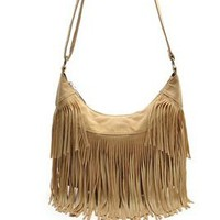 Vintage Fringe Crossbody Messenger Bag   HIppie Fringe That's Back In Style!  Khaki