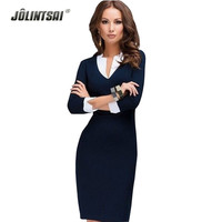 New Women Winter Dress Fashion V-neck Work Wear Formal Dresses Plus Size White Collar Casual Office Clothes Blue