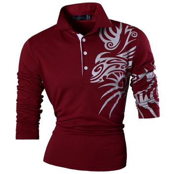 Men Casual Dragon Print  polo Long Sleeves Shirt Tops Slim Trend Designed Shirt