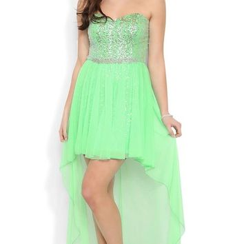 Deb Junior Strapless High Low Prom Dress with Sparkly Bodice and Skirt Lime Green 7