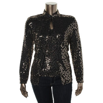 Onyx Nite Womens Metallic 2PC Blouse
