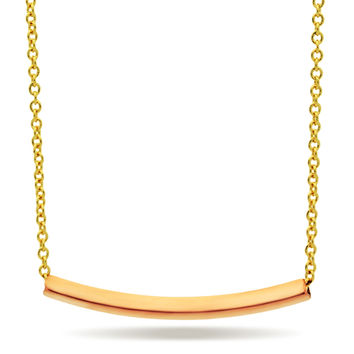 Rose Gold Modern Minimalist Necklace, Geometric Gold Tube Necklace, Curved Bar Necklace