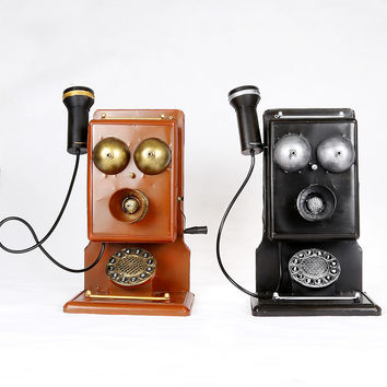 Weathered Vintage Black Brown Decoration Phone [6542381891]