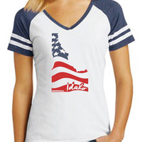 Idaho Flag - Ladies Vneck ringer Idaho T-shirt, flag Idaho, made in Idaho, Idaho tee, Idaho made, Idaho design, flag tee, screen printed