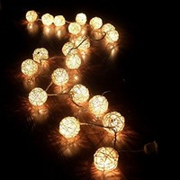 SBX Storm Cream White Rattan Ball Fairy String Lights,Warm White- Ideal Wedding, Christmas & Party String Lights Holiday Home Bedroom Use With Battery box + 20 Rattan Balls(2M)