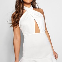 Petite Liv Cross Front Backless Halterneck Dress | Boohoo