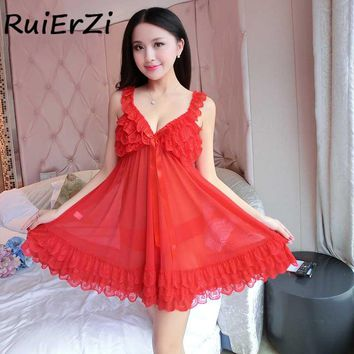 Sexy Women Dress Satin Sleepwear Silk Lace Bow V-neck Nightgown Nightdress Lingerie Female Sleeveless Nightie Mini Dress