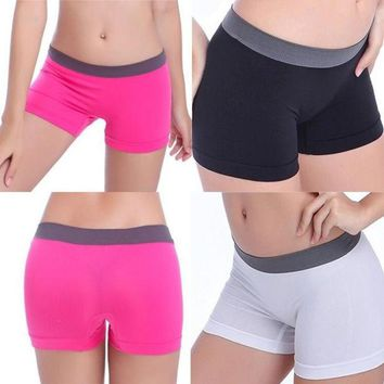 ICIKJ6E [Crazy Sexy Women Yoga Dancing Sport Waistband Shorts Spandex Elastic Pants Safety Underwear Hot Free Size [9852914895]