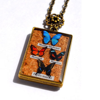 Butterfly Display Pendant Insect Jewelry  Butterfly Specimen Resin Pendant Oddity Unique OOAK Necklace, Faux Miniature 4 Butterflies