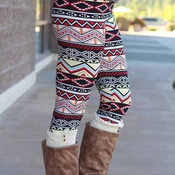 Chevron Pyramids Aztec Print Fleece Leggings