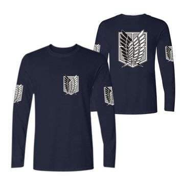 Cool Attack on Titan XXS-4XL  no  long sleeve t shirt men women Anime Cosplay Costumes tshirt Survey Corps Logo tops AT_90_11