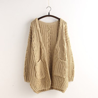 Cable Loose Pockets Knit Long Cardigan