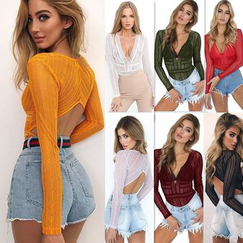 Danjeaner Lace Mesh Long Sleeve Bodysuit Women Sexy Deep V neck Hollow out  Romper Jumpsuits Solid Slim Body Feminino Overalls