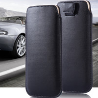 Universal Use Mobile Phone Pouch Cover Case For iphone 4S 5 5S 5C Slim Leather Sleeve Bag With Strap Buckle i5 Full Protection