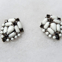 Vintage White Stone Clip Earring