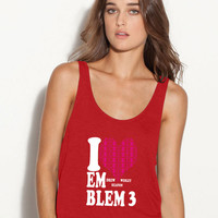 I love emblem ladies flowy tank top