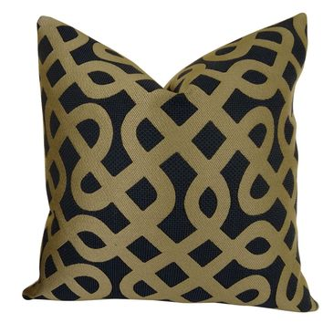 Plutus Graphic Maze Handmade Queen Throw Pillow