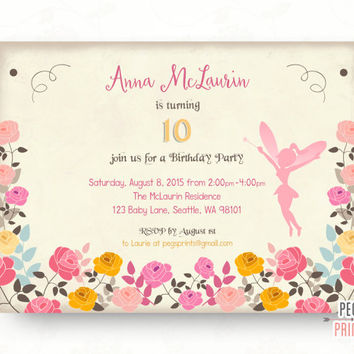 Fairy Birthday Invitation // Fairy Birthday Party // Fairy Garden Birthday Invitation // Printable Floral Birthday Invitations for Girls
