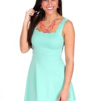 The Lucky One Mint Scalloped Dress | Monday Dress Boutique