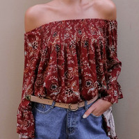Red Off Shoulder Floral Print Bell Sleeve Top
