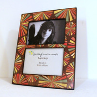READY TO SHIP 4x6 Double Photo Frame Brown Color Bursts