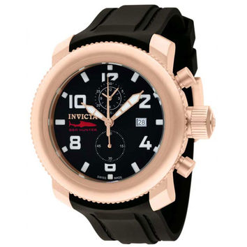 Invicta 1861 Men's Russian Diver Rose Gold Steel Black Dial Black Rubber Strap Chronograph Watch