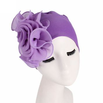 Women  Flower Solid Stretchy Beanie Turban Bonnet Chemo Cap For Cancer Patients Ladies Bandanas African Head Wrap