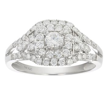 0.14 Carats 1 CT Diamond Engagement Ring 14K White Gold