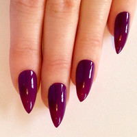 Purple Stiletto nails, Nail designs, Nail art, Nails, Stiletto nails, Acrylic nails, Pointy nails, Fake nails