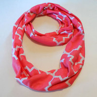 Coral Pink White Infinity Scarf Quatrefoil Cowl Neck Skinny Jersey Knit Cotton