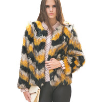 Faux Fur Long Sleeve Coat