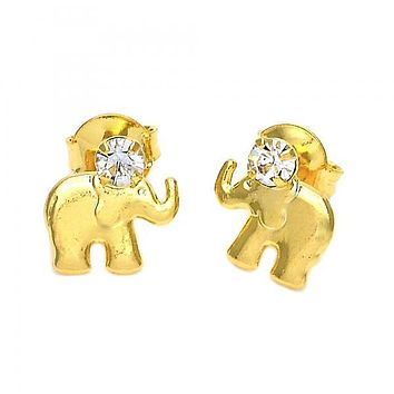 Gold Layered 02.09.0050 Stud Earring, Elephant Design, with White Cubic Zirconia, Polished Finish, Golden Tone