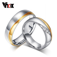 Vnox engagement wedding ring stainless steel jewelry fashion couple rings for women men