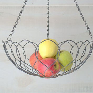 Vintage Wrought Iron Planter, Rustic Hanging Fruit Basket