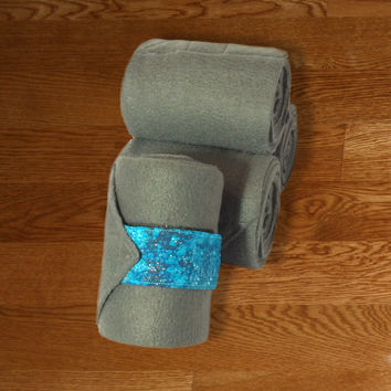 Equine Polo Wraps/Gray Polo Wraps w/Teal Galaxy Velcro Strap